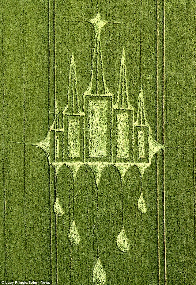 Ring a bell? This new crop circle which has appeared in Stanton St Bernard in Wiltshire is thought to resemble Westminster Abbey