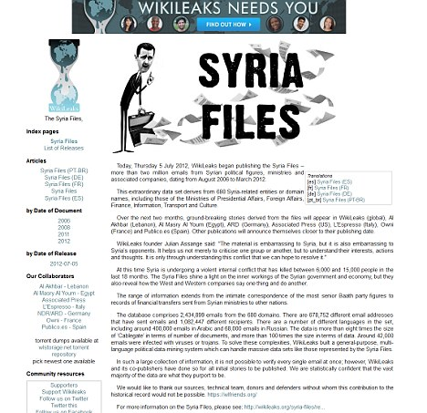 Syria Files: WikiLeaks announce the release of the leaked emails online