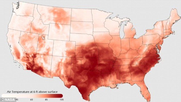 Unbearable heat: The graphic shows the heat wave gripping the country, with the south and east most affected