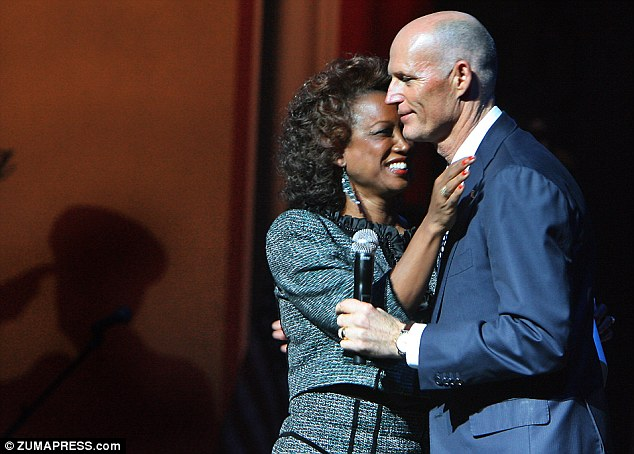 Political power: Lt. Governor Jennifer Carroll (with Governor Scott) allegedly had a relationship with a female aide