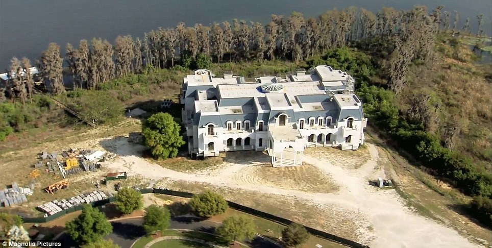 Under construction: The Siegel's 30-bedroom mansion in Windermere near Orlando, Florida, is modelled after France's Palace of Versailles