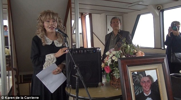 Words of love: Ms de la Carriere remembers her son Alexander at the funeral at sea