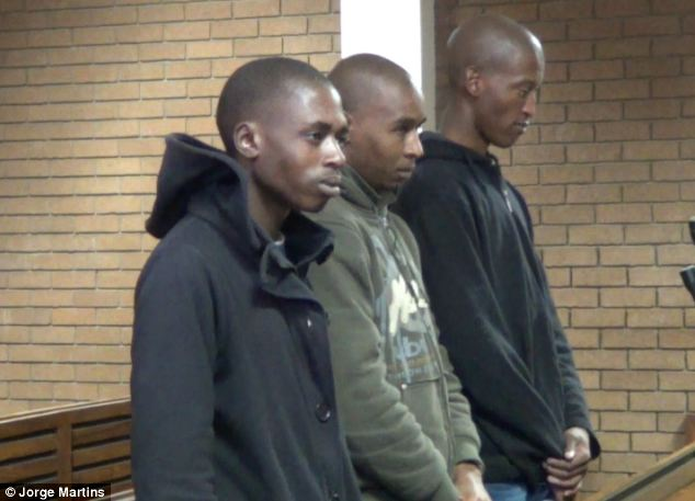 Twisted: From left, Sipho Mbele, David Motaung and Patrick Petrus Radebe smiled in court as they admitted to their sick crimes