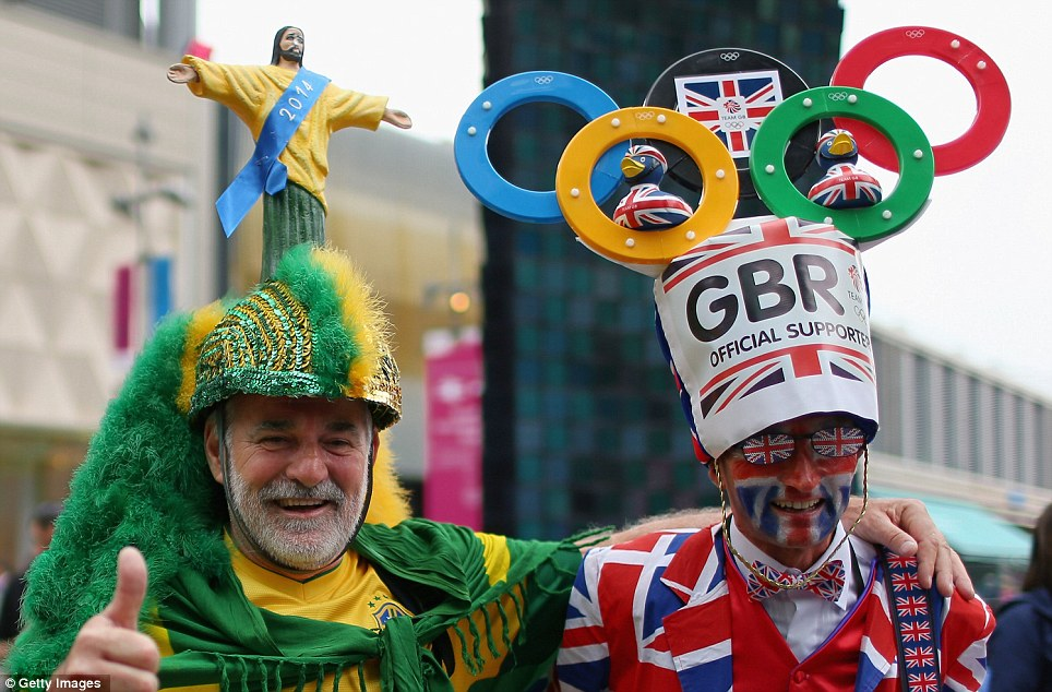 Costume contest: A Brazilian and a Brit compete for the most creative Opening Ceremony costume in the Olympic Park