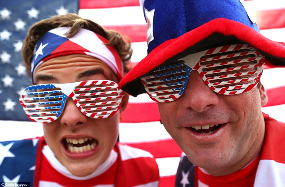 U-S-A! U-S-A!: American visitors wear the stars spangled banner with pride on hats, t-shirts and even sunglasses as excitement builds in the Olympic Park