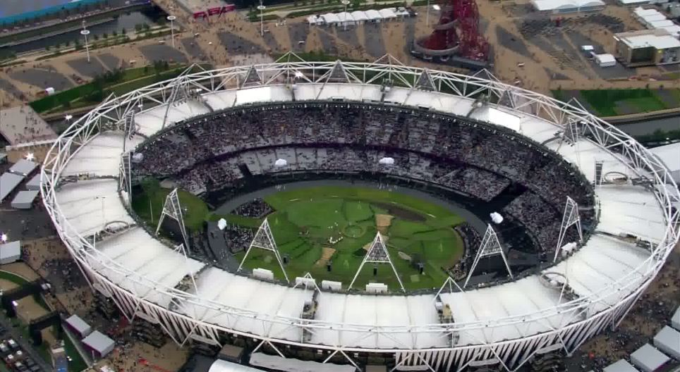 High in the sky: An aerial view of the stadium shows presence the Olympic Park in Stratford, East London