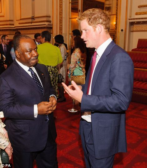 Prince Harry meets with the President of Gabon Ali Bongo Ondimba and his wife Sylvia