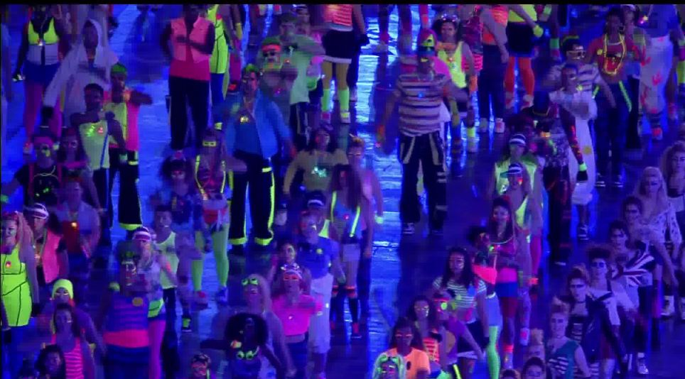 Stand out: Bright neon colours on the dancers costumes made an effective scene