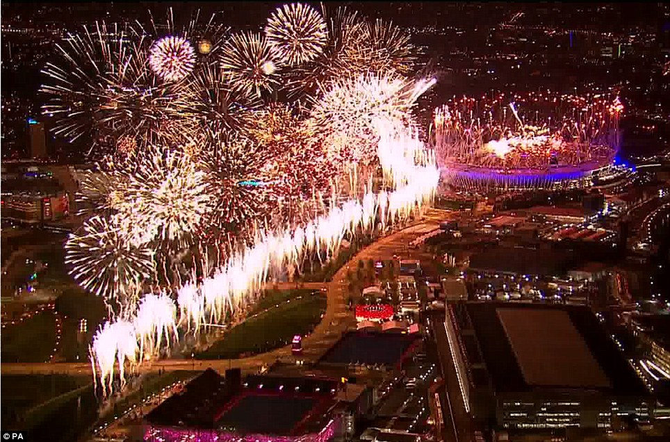London is illuminated by a stunning firework display as the Opening Ceremony reaches a crescendo