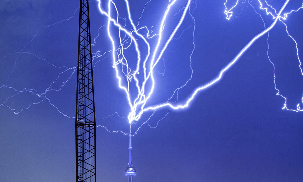 The CN Tower is struck by lightning in ferocious storm in