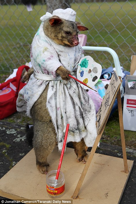 A fine art: This possum has been given the Van Gogh makeover
