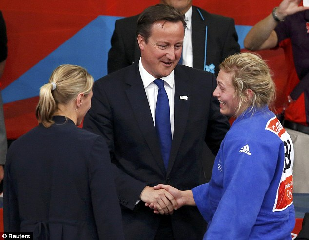 Good effort: Gemma Gibbons is congratulated on her silver medal by Prime Minister David Cameron