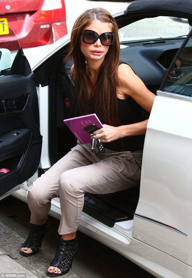 Rounded character: Chloe Sims visited a plastic surgery in London to have a consultation about her impending buttock implants, yesterday