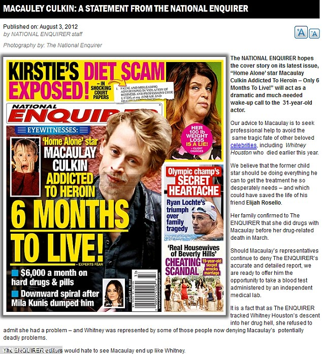 Hitting back: The National Enquirer has issued a statement standing by its cover story about Macaulay Culkin's alleged drug habit after his representatives denied the report