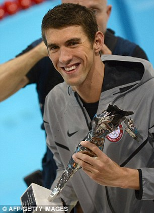 US swimmer Michael Phelps holds his trophy of the greatest olympic athlete of all time