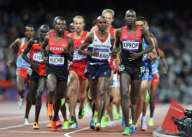 Hard at work: Mo Farah runs in the 10,000m at the Olympic Stadium in London