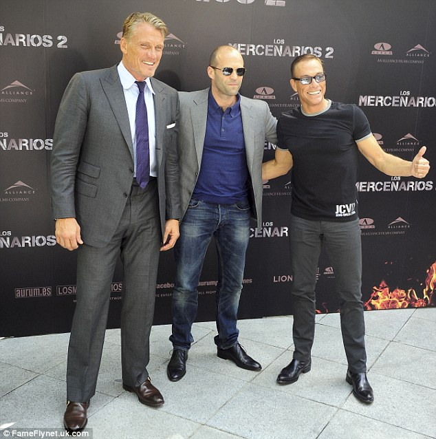 They're back! Van Damme was joined by his hardman co-stars Jason Statham and Dolph Lundgren to promote the latest movie