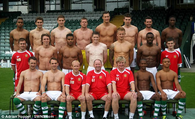 Naked ambition: A professional football team have posed topless for this annual team photo shoot - after failing to attract a shirt sponsor for next season