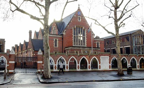 Marwaha, who went to £15,000-a-year Latymer Upper School in west London, pictured, denied sending the abuse