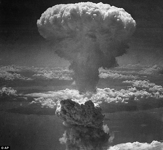 Explosion: A giant mushroom cloud rises into the air after the U.S. dropped its second atomic bomb on Japanese port Nagasaki on August 9, 1945, killing 70,000 people