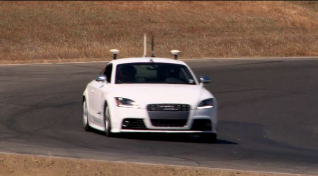 The Audi TTS is kitted out with antennas and sensors to help it navigate around the track