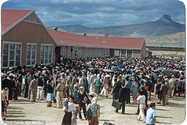At midday on Sept. 21, 1943, a crowd of about 4,000 people gather at the high school to send off 434 detainees departing for the Tule Lake Segregation Center in California after the government deemed them 'disloyal'. Photo by Bill Manbo