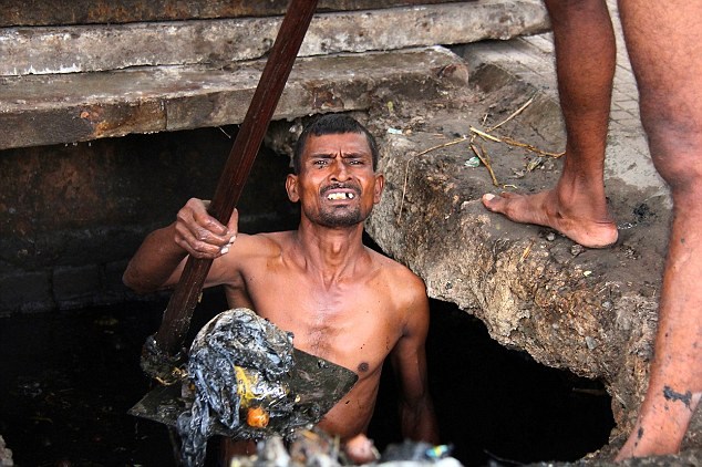Even though India banned the practise in 1993, government agencies still use thousands of people like Dev to clean drains through out India