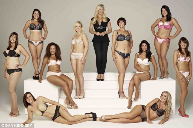 Hear it for the girls! Michelle Mone surrounded by the beautiful contestants of the Real Women competition