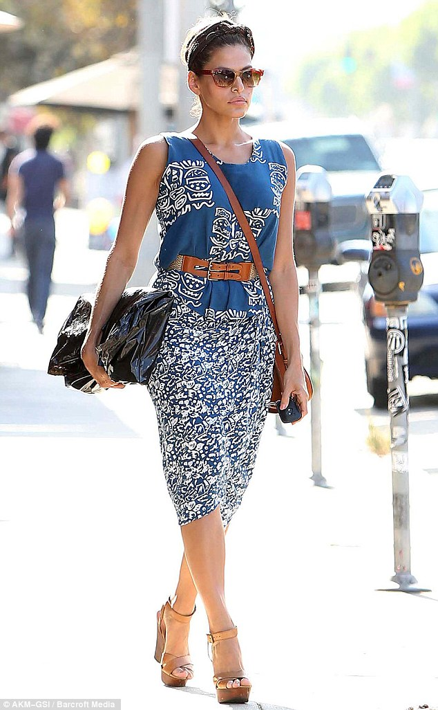 Posture of a supermodel: Eva looked confident as she strut down West Hollywood while vintage shopping