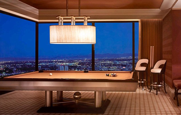 Games room: Suites like this one at the Wynn Hotel in Vegas, used by Harry, have a pool table, which they used for a game of strip billiards