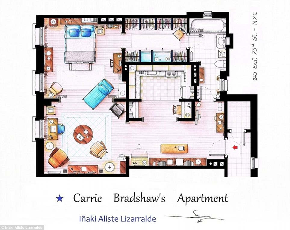 Artists sketch floorplan of Friends apartments and other famous TV shows  Daily Mail Online