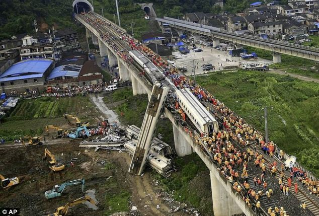 Devastation: Dozens of rescue workers battled to save the survivors of the train crash