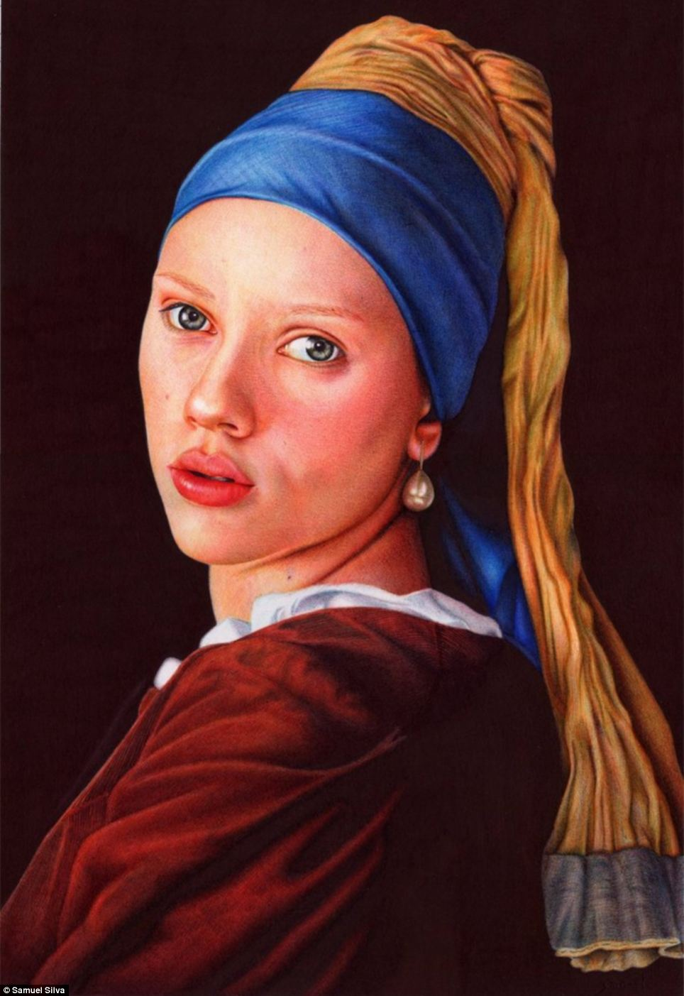 The painting Girl with a Pearl Earring is one of Dutch painter Johannes Vermeer's masterworks, but Silva copied it using ballpoint