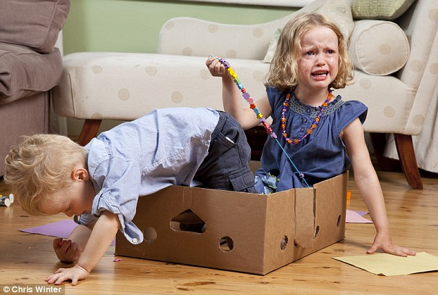 Reluctant: Alex and Ella get accustomed to playing with cardboard and beads after having their toys taken away