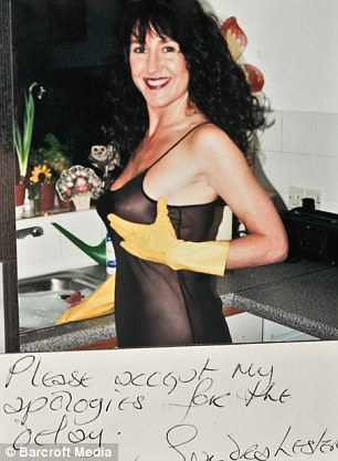 Pen pals: Sandra Lester sent this photograph to Peter Sutcliffe with a handwritten note asking the killer to 'please accept my apologies for the delay'