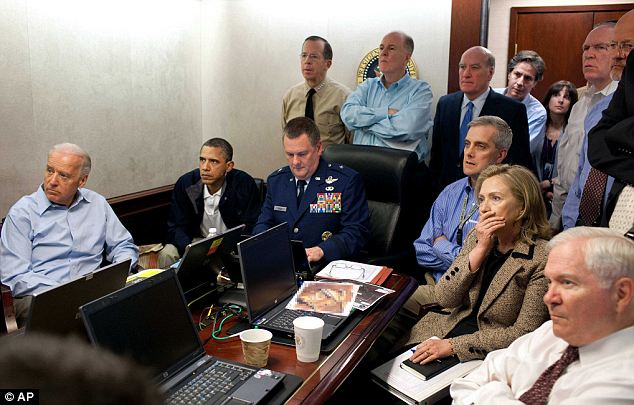 Secretary of State Hillary Clinton, President Barack Obama and Vice President Joe Biden, along with with members of the national security team watch the mission to kill Osama Bin Laden on a screen