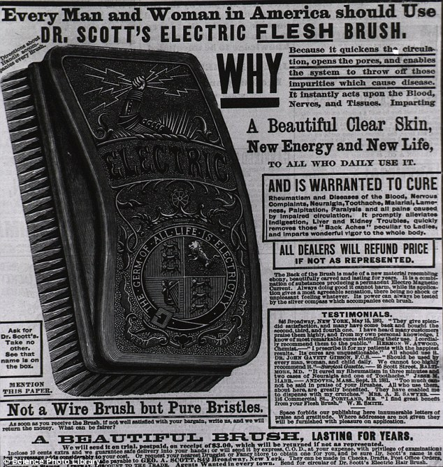 Dr Scott's Electric Flesh Brush, featured in this 1881 advert, is a concept still used today. Millions use body brushes to improve circulation and skin condition