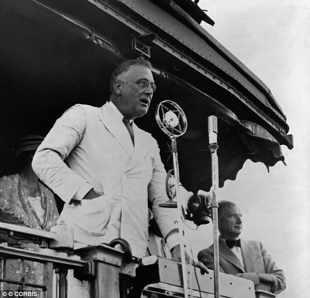 Comparison: Barack Obama will invoke the spirit of President Franklin D. Roosevelt seen here speaking in 1934, at Fort Peck, Montana, USA