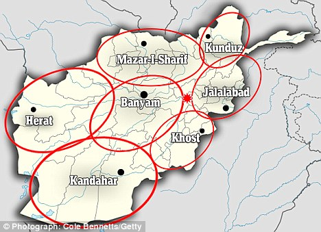 Map showing the eight different regions which could become separate kingdoms including Kabul, which is starred