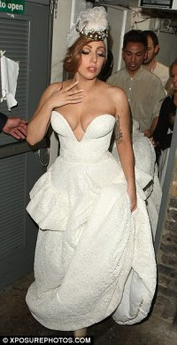 Lady Gaga sported a revealing wedding dress at the Arts
