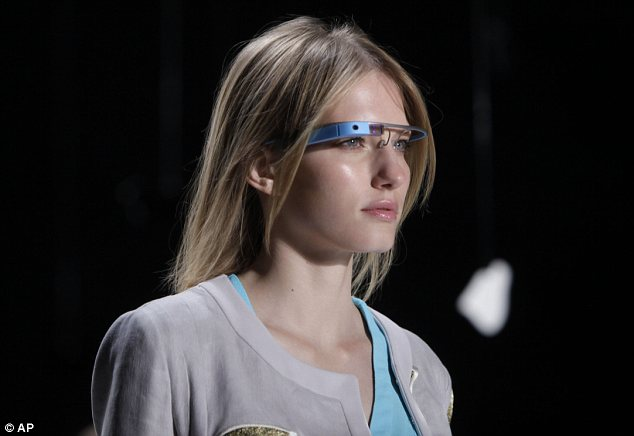 Futuristic: This is the first time anyone outside Google has been seen wearing the glasses in public