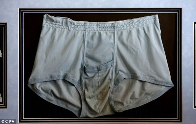 Unwashed... And unloved: The King's stained underwear was worn under a jumpsuit for a 1977 concert, but failed to lure fans when it went on sale in Stockport