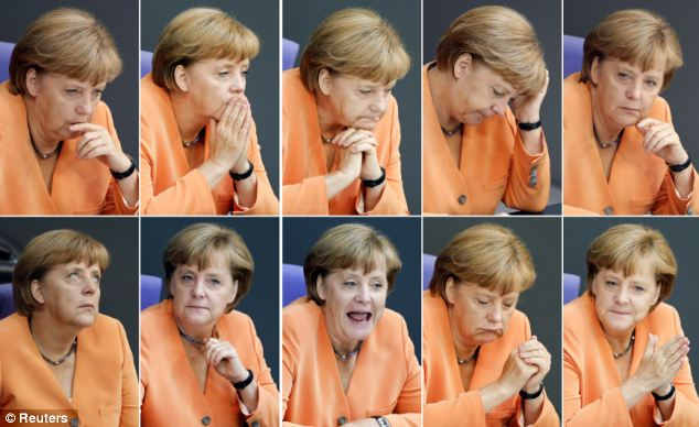 Could it be worse than 2008? Mrs Merkel, pictured at the Bundestag today, is very concerned about the affect a 'Grexit' could have on the German economy