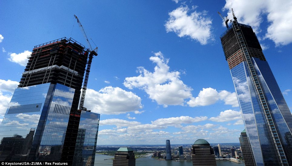 Rebuilding: Four World Trade Center and One World Trade Center are close to completion, filling in the Manhattan skyline once more