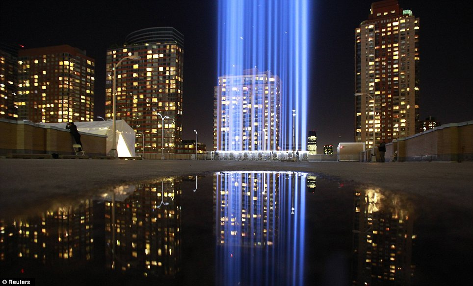 Light: A ground view of the Tribute in Light on the evening of September 10, ahead of the 11th anniversary