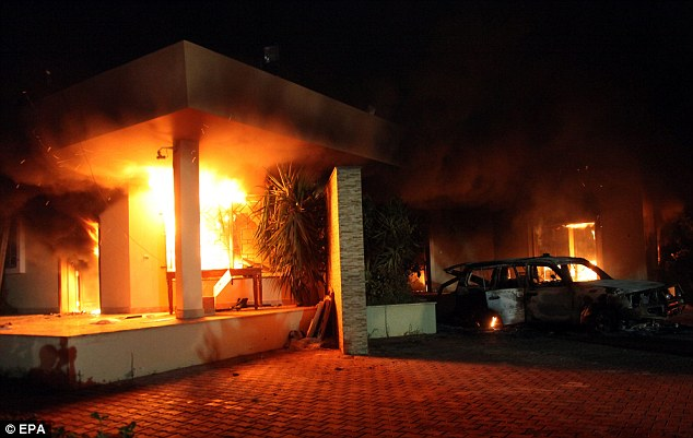 Attack: The four men died after riots over an anti-Islamic film stormed past the U.S. embassy in Benghazi