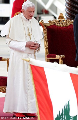 Pope Benedict XVI attends a welcome ceremony at Beirut's Rafiq Hariri International Airport