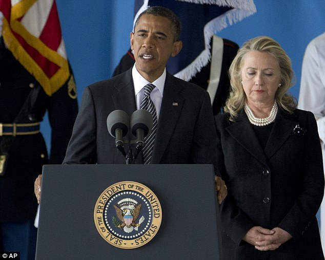 President Obama and Hilary Clinton spoke at the solemn 'transfer of remains' ceremony at Andrews Air Force Base today as the bodies of four American citizens killed at the U.S. consulate in Benghazi were returned home