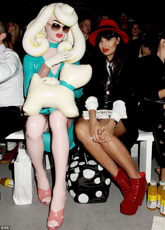 Front row: Pandemonia (left) and Jameela Jamil (right) at the show
