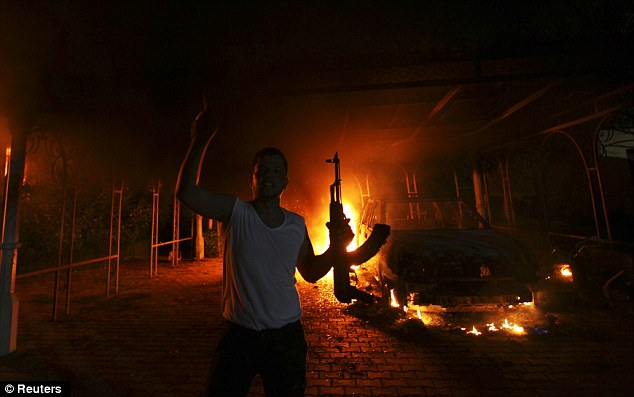 A protester holding his rifle during the assault on the U.S. Consulate in Benghazi, Libya on 11th September